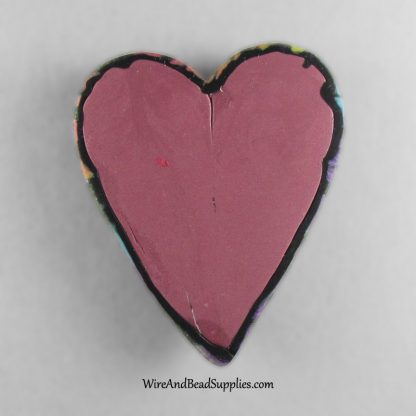 Heart shaped rainbow leaves polymer clay cabochon