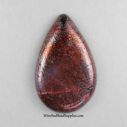 Red and purple handmade polymer clay teardrop cabochon