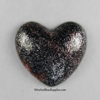 Red, silver and black glitter heart polymer clay cabochon.