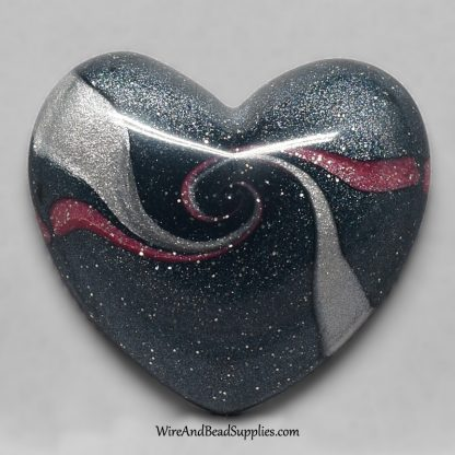 Pink Silver and Dark Blue Swirl Heart Cabochon
