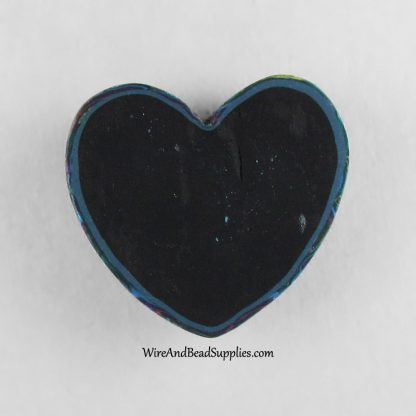 Pink and Blue Mokume Gane Polymer Clay Heart Cabochon.
