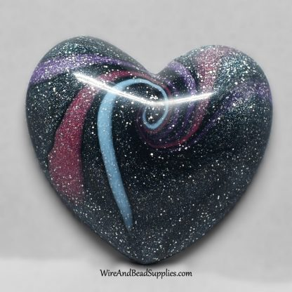 Pink, blue and purple swirly heart polymer clay cabochon