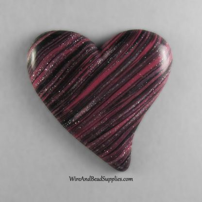 Black and Pink Glitter Striped Heart Cabochon