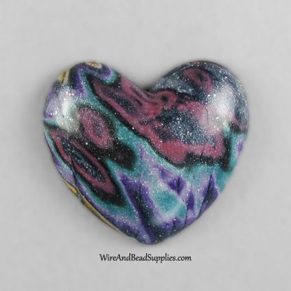 Pink Teal and Purple Mokume Gane Polymer Clay Heart Cabochon.