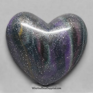 Dark Blue Marbled Polymer Clay Heart Cabochon