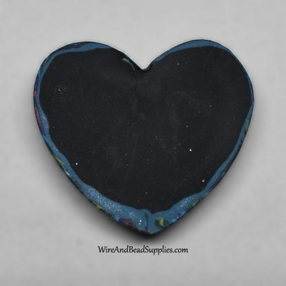 "Polymer clay heart cabochon with pink, blue, green and purple ""galaxy"" swirls"
