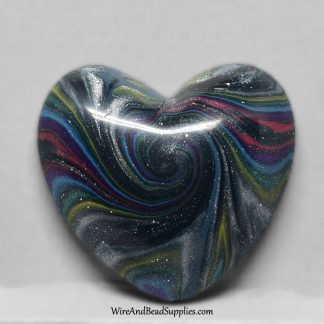 "Polymer clay heart cabochon with pink, blue, green and silver ""galaxy"" swirls"
