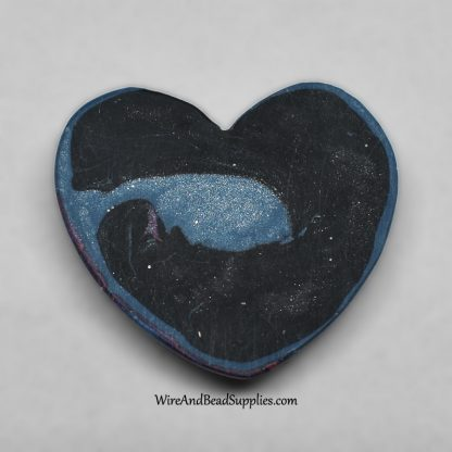 Purple and blue galaxy swirl heart polymer clay cabochon