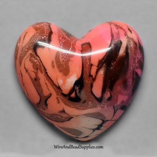 Pink, orange and black polymer clay heart cabochon.