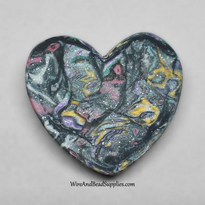 Pink, Yellow, Green and Blue Mokume Gane Polymer Clay Heart Cabochon