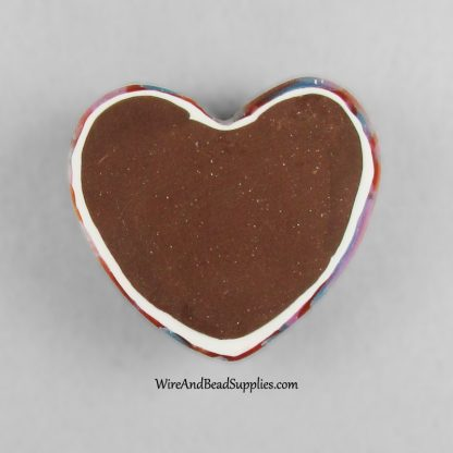 Red, Blue, Pink and Silver Mokume Gane Polymer Clay Heart Cabochon.