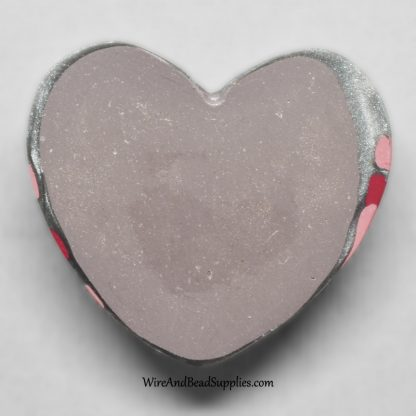 Pink and Silver Swirl Heart Cabochon