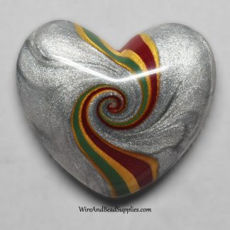 Red, Green, Gold and Silver Swirl Heart Cabochon