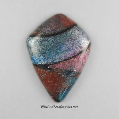 Blue Red and Pink Handmade Polymer Clay Cabochon