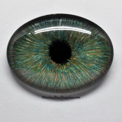 Hazel (green and brown) hand painted glass eye cabochon.