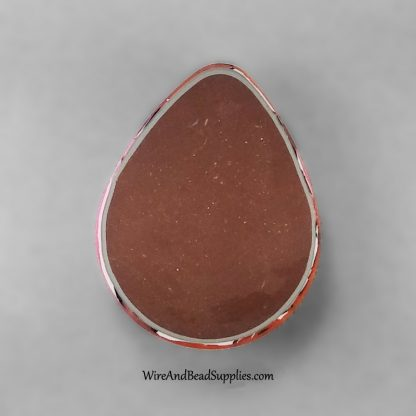 Pink and orange teardrop polymer clay cabochon
