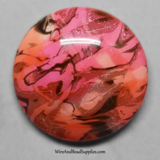 Round pink and orange polymer cabochon