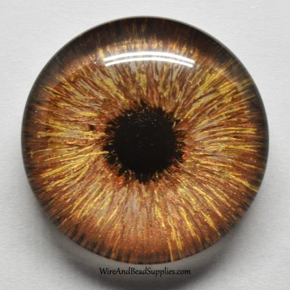 Hand painted brown round glass eye cabochon with round pupil