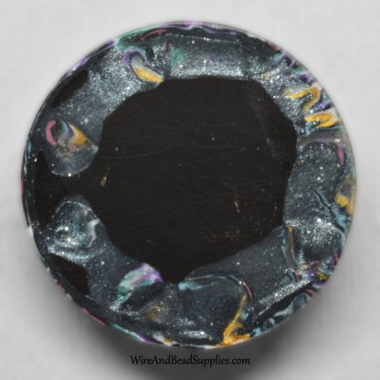 Pink, purple, green and yellow polymer clay mokume gane round cabochon