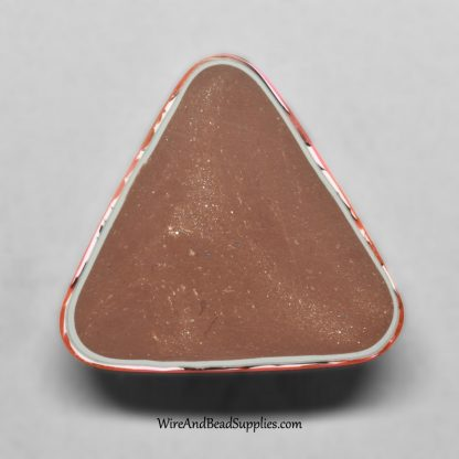 Orange and pink handmade polymer clay triangle cabochon.